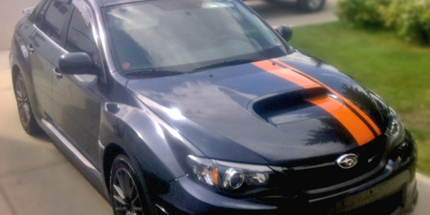 Subaru WRX Racing stripe installation